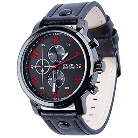 Koiiko® Curren Men's 98FT 30M Water Resistant Analog Quartz Watch with Dial Analogue Display and Leather Strap Black