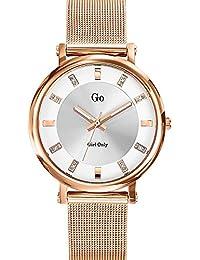 Go Girl Only 695038 - Reloj de mujer, movimiento de cuarzo, analógico, esfera plateada, correa de acero rosa
