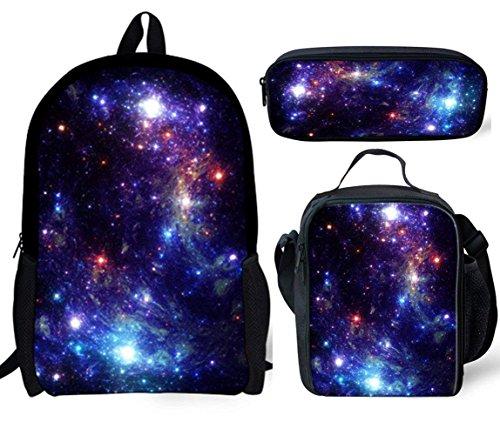 POLERO Stern-Kleinkind-Rucksäcke für Jungen und Mädchen mit Schulterriemen und Handgriff Super3 zufällige Rucksack Daypack Laptop-Tasche Schultasche BookBag Lunch Bag + Mäppchen 3 PCS Galaxy Universum