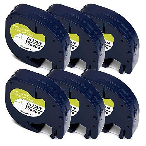 Uoopo 6x Kompatibel Dymo LetraTag 16951 S0721550 Schriftband 12mm x 4m Schwarz auf Transparent für Dymo LT-100H LT-100T LT-100T PLUS LT-100H PLUS QX-50 XM 2000 XR Etikettendrucker Handgerät