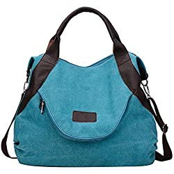 bigcity Women's shoulder hand bags Vintage Canvas Large Capacity Tote Shoulder Bag Tablet Book Holder Travel Pouch