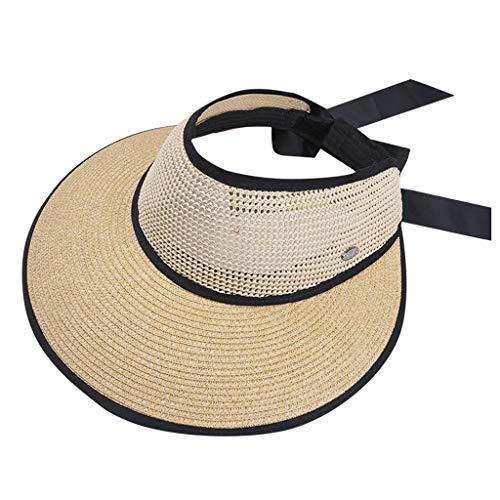 Elegante breiter Rand-Diskette Faltbarer Fester Sonne Cozy Damen Herren Sommersonnen-Strand-Hut Khaki, Marine, Gary, Rosa, Beige ()