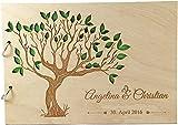Livingstyle & Wanddesign Rustikales Gästebuch aus Holz zur Hochzeit mit Namen und Datum, Motiv 14, 160 Seiten/80 Blatt