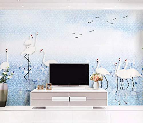 Tapete Handgemalter Gekrönter Kran Des Blauen Himmels Des Mosaiks Blauen See Vliestapete 3D Tapeten Wanddeko Wandbilder Wohnzimmer,400cmX280cm ()