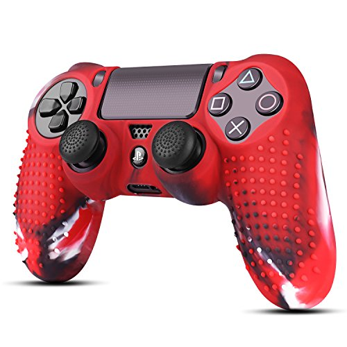 TNP PS4/Slim/Pro Controller Skin Grip Cover Case Set - Protective Soft Silicone Gel Rubber Shell & Studded Anti-slip Thumb Stick Caps for Sony PlayStation 4 Controller Gaming Gamepad (Camou Red)