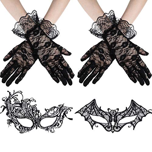 (Tatuo 2 Paar Schwarze Spitze Handschuhe mit 2 Stück Schwarze Maskerade Spitze Augenmasken für Party)