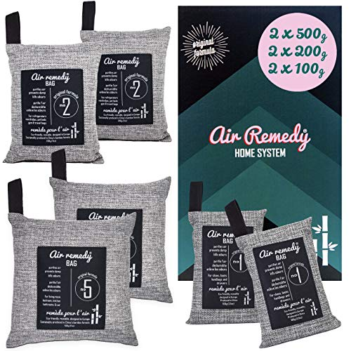 Air Remedy Bag Aktivkohle aus Bambus Luftreiniger, Auto Entfeuchter & Zuhause Lufterfrischer - Geruchsentferner - 6er Pack/Home-System 2x500g, 2x200g, 2x100g - Geruchsneutralisierer, Raumentfeuchter