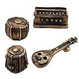 #3: Tootpado Indian Musical Set Desk Organiser - Set of 4 (Veena-Harmonium-2 Tablas) (1d227) - Pen Stand, Card Holder, Paper Weight