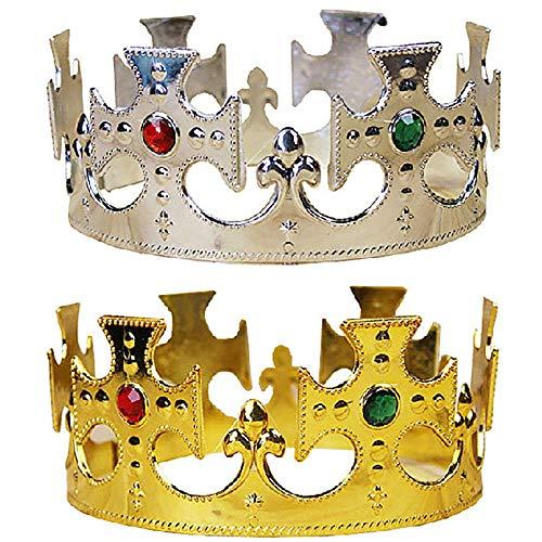 Zubehör Kings Crown Kostüm - Vektenxi Halloween Gold Royal King Kunststoff Crown Prince Kostüm Zubehör für Kinder Hohe Qualität