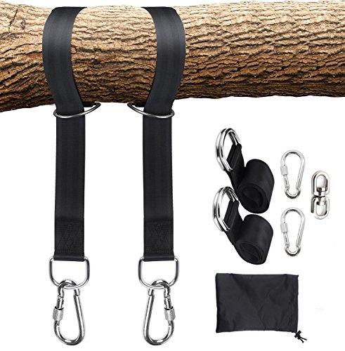 HONGCI - Kit de colgador para árbol de columpio con capacidad para 2200lbs, fácil y rápido colgador para árbol, 2 correas de árbol (5 pies) y 2 ganchos de mosquetón de seguridad, 1 gancho giratorio, perfecto para columpios y hamacas
