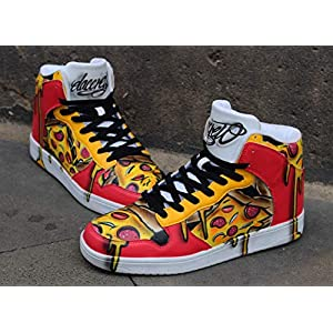 "Custom Dac Crew High tops""Pizza"" handpainted Sneaker Art"