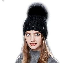 9f16ed236803 URSFUR Bonnet Beanie Tricot Laine à Pompon Fourrure Femme Chapeau Bonnet  Jersey Torsade Fille Hiver