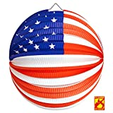 PARTY DISCOUNT Neu Lampion USA, Ø 25 cm, flammensicher