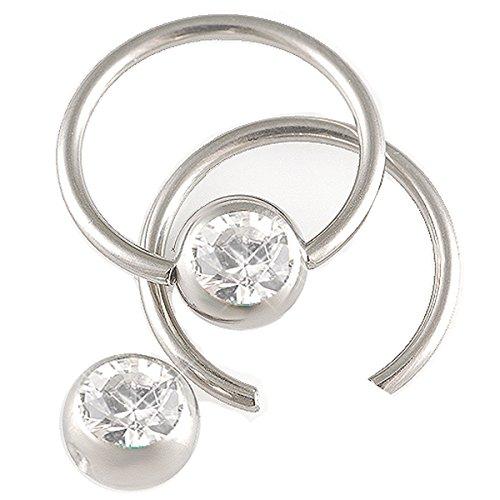 2er set 1,6mm 12mm Lippenbändchen Stahl Klemmring Ohr Piercing Kristall Körperschmuck BCR Ball Closure BFXJ