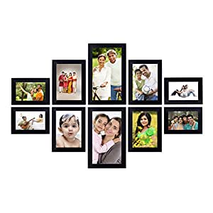 Amazon Brand - Solimo Collage Photo Frames (Set of 10, Wall Hanging) (Black)