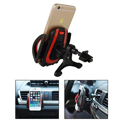 iVoler Support Auto Smartphone di ventilazione con per agganciare, Porta Cellulare Supporto Auto Universale Air Vent Rotazione a 360° per iPhone X / 8 / 8 Plus / 7 / 7 Plus / 6(s) / 6(s) Plus / SE / 5 Nero/Rosso