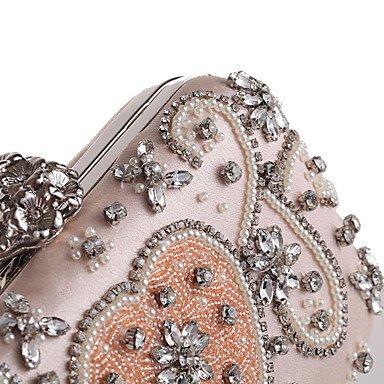Heart&M Damen Abendtasche Polyester Ganzjährig Hochzeit Veranstaltung Fest Normal Formal Strass Applikationen Blumig Blume Druckknopf Rosa blushing pink