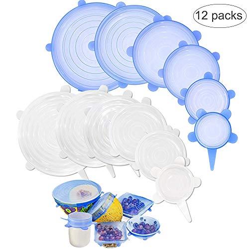 Coperchi in silicone stretch,12 pack di coperchio in silicone estensibile, riutilizzabile coperchio in silicone per alimenti,conservazione alimenti coperchi per ciotole, piatti, barattoli, tazze