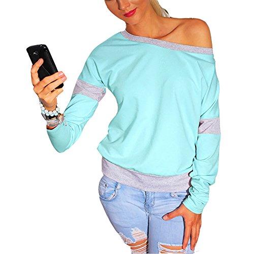 Frauen Neu Mode Young Fashion Herbst Rundhals Langarm T-Shirt Hemd Tops (XL, Grün) (Marilyn Kleid Plus Size)