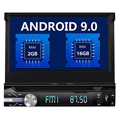 2019 Android 9.1 Single DIN Auto Stereo Bluetooth MP5 Player Navi GPS Navigation mit 7 Zoll ausziehbarem Touchscreen, WiFi, Mirror Link, BT, Freisprecheinrichtung, AUX, FM-Radio, CD/DVD-Player
