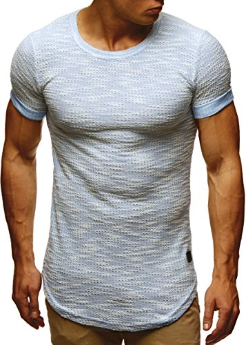 LEIF NELSON Herren T-Shirt Sweatshirt Hoodie Hoody LN6359 Blau