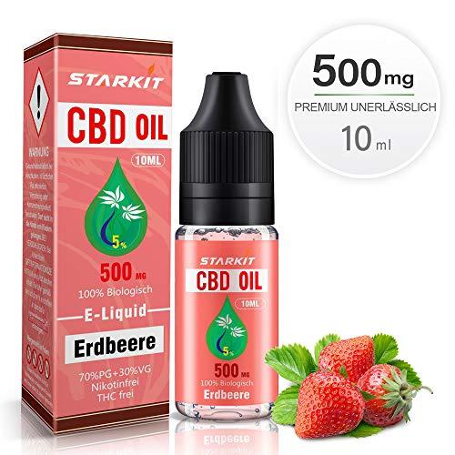 STARKIT® CBD E Liquid 500mg, Vape Öl 10ml mit 5% Cannabidiol Hanf Öl für E Zigarette Starter Set SMOK E Shisha, PG70/VG30 Eliquid, ohne Nikotin, ohne THC (Erdbeere Geschmack,500mg)