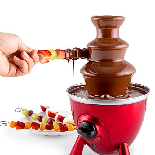 oneConcept Cioccolata di Trevi • Schokobrunnen • Partybrunnen für Schokolade • 60 Watt Heizelement • 2 Betriebsmodi • höhenverstellbare Standfüße • Gehäuse und Turm aus Edelstahl • 3 Etagen • rot