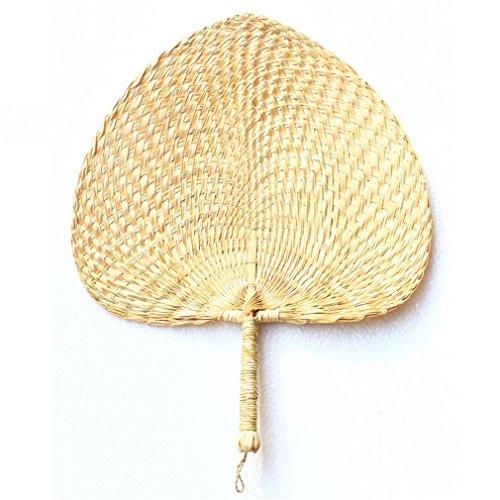 STEAM PANDA Hand Hand Fan Hand Stoff Hand Fan Abweisend Genießen Sie Die Kühle Luft, Palmblatt mit Bambusrahmen, 2 Stück