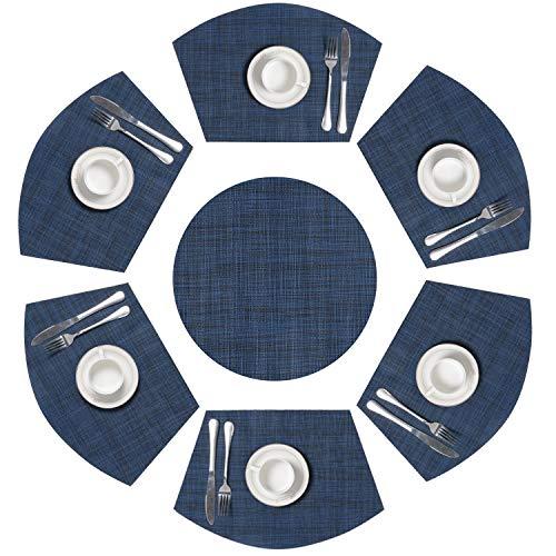 SHACOS Keil Tischsets Set von 7 Vinyl Vintage PVC Platzsets Rund Blau Abwaschbar Hitzebeständig,Für Küche,Party,Dekor Küche Dekor-set