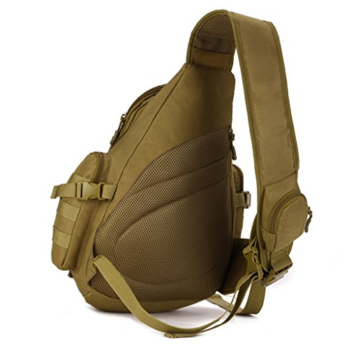 cinmaul singola spalla Crossbody petto Borsa caccia campeggio trekking Heavy Duty Corriere Militare Tattico Sport Sopravvivenza Pack, Uomo, Jungle Camouflage Coyote Brown