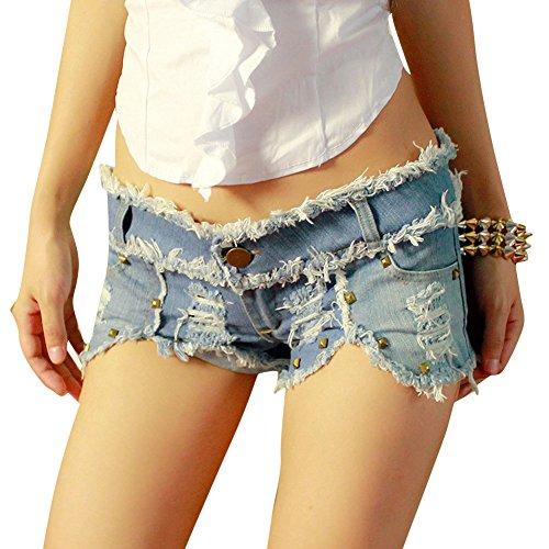 Damen Ausgefranste Mini Short Kurze Hose Denim Lochjeans Camouflage Hotpants Hellblau M