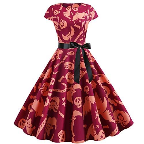 Halloween Kleider Damenmode Kostüm Muster 50er Jahre Hausfrau Oansatz Kurzarm Bogen Vintage Partyabend Schaukel Kleid Cosplay Karneval Festival Wear Wein XL