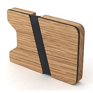 Kreditkartenetui aus Holz Kreditkartenhalter Kreditkarten Etui Etuis Kreditkartenhülle wood Kreditkartenaufbewahrung mit Geldklammer Portemonnaie Brieftasche Geldbörse -Eiche