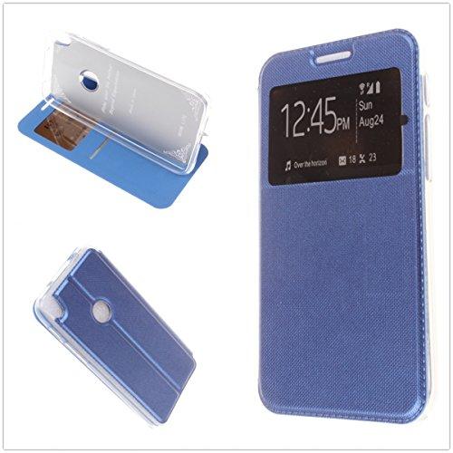MISEMIYA Schutzhülle Cover für Alcatel Shine Lite - Hüllen + gehärteter Schutz, Cover Sport Magnet Stand,Blau (Und Shine Control Schutz)