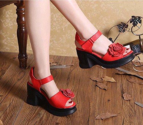 6 centimetri Tacco a cuneo vera pelle sandalo D'Orsay Spessore inferiore sandali Scarpe da sera Donne Aprire il piede Cavo Fiore Pizzo Cinturino alla caviglia velcro Scarpe casual Scarpette Scarpe da 996 red