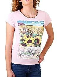 Madonna T-Shirt Damen TIRIL Rundhals mit Perlen Sunflower Print Shirt MF-406981