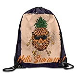 fengxutongxue Pineapple In The Beach with Suglass Drawstring Backpack Travel Bag Gym Outdoor Sports Portable Drawstring Beam Port Backpack for Girl Boys Woman Female