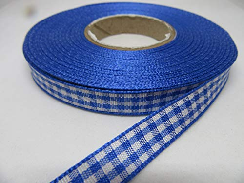 Beautiful Ribbon 1 Rouleau de 10mm Vichy Ruban x 25 mètres Bleu Royal Double Face Gingham 10 mm