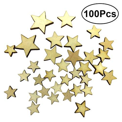 ULTNICE Holz Sterne für Handwerk Blank Stern Holz Scheiben Discs diy Verzierungen 100pcs