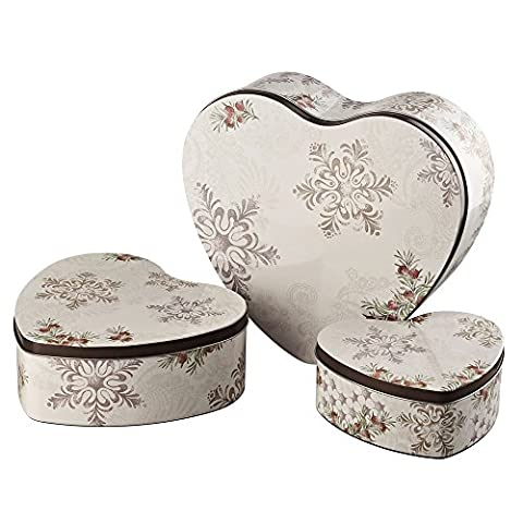 Hutschenreuther Candyland 0246872569205679Winter Romance Biscuit Tins Set of 3Heart Shaped Tin–14–18–23cm