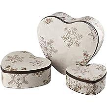 Hutschenreuther 02468-725692-05679, Set di 3 scatole in latta per biscotti, a forma di cuore, stile invernale romantico, 14 - 18 - 23 cm