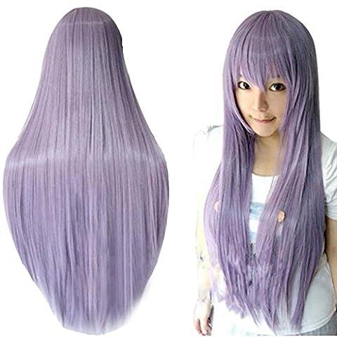 Ularma 80CM Long Ligne droite Cosplay Perruque Multicolor Chaleur Résistant à la Complet Perruques Purple