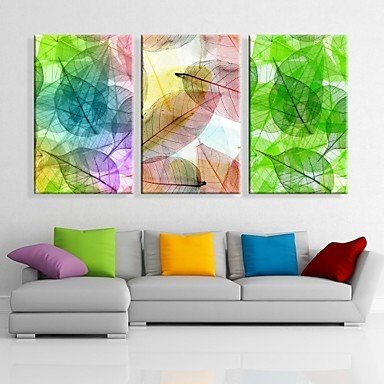 Keilrahmen Kunst bunten Blätter dekorative Malerei Set von 3 ,