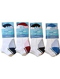 3/6/12 Pairs Mens Trainer Socks White/Coloured Mid Grip Liner Heel & Toe UK 6-11