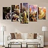 wfdmd Art Abstrait Dinosaur Comics Affiche Nordique Peinture sur Toile 5 Panneaux HD Impression décoration Murale Image @ with_Frame_40X60_40X80_40X100cm
