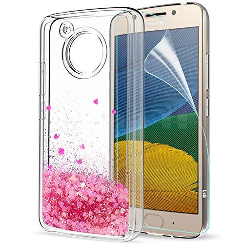 LeYi Hülle Motorola Moto G5 Glitzer Handyhülle mit HD Folie Schutzfolie,Cover TPU Bumper Silikon Flüssigkeit Treibsand Clear Schutzhülle für Case Motorola Moto G5 Handy Hüllen ZX Pink