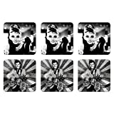 6 tlg Set Untersetzer - 9 x 9 cm - Elvis Presley und Audrey Hepburn