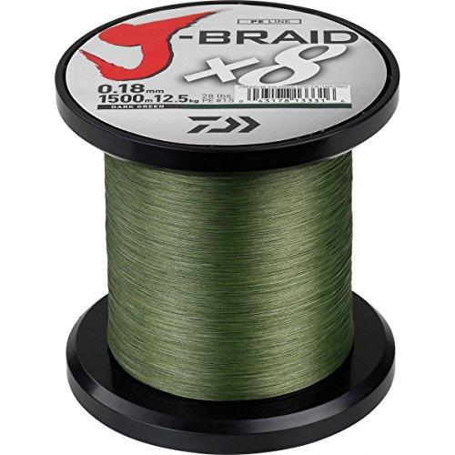 Daiwa J-Braid 8 Braid 0.35mm, 36.0kg / 79.0lbs, 1500m dunkelgrün, rund geflochtene Angelschnur