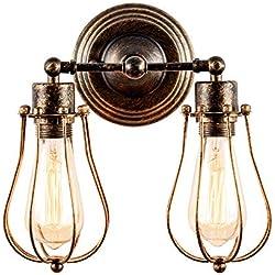 Aplique de pared Industrial Lámpara Rústica para Loft Antiguo Enchufe de alambre Ajustable Edison Vintage Metal Retro Lámparas para gazebo de dormitorio (sin bombilla) (con 2 luces) (Bronce)