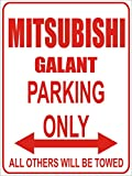 INDIGOS - Parkplatz - Parking Only- Weiß-Rot - 32x24 cm - Alu Dibond - Parking Only - Parkplatzschild - Mitsubishi galant